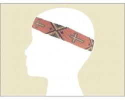 Pink Gray Purple Seed Bead Cross Aztec Headband
