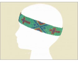 Turquoise Blue Coral Seed Bead Cross Aztec Headband