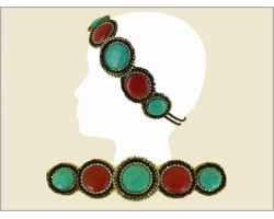 Coral Turquoise Round Stone Crystal Seed Bead Headband