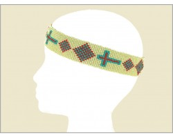 Beige Coral Turquoise Seed Bead Cross Diamond Headband