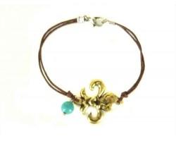 Antique Gold Fleur De Lis  Brown Cord Bracelet