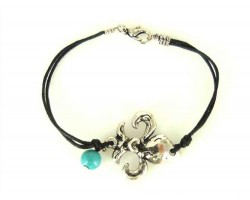 Antique Silver Fleur De Lis  Brown Cord Bracelet