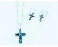 Abalone Cross Silver Chain Link Necklace Set