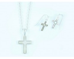 Mother of Pearl Cross Silver Chain Link Necklace Set
