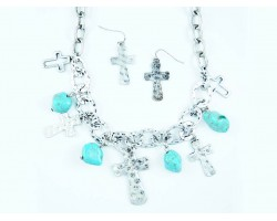 Silver Cross Turquoise Nugget Chain Necklace Set
