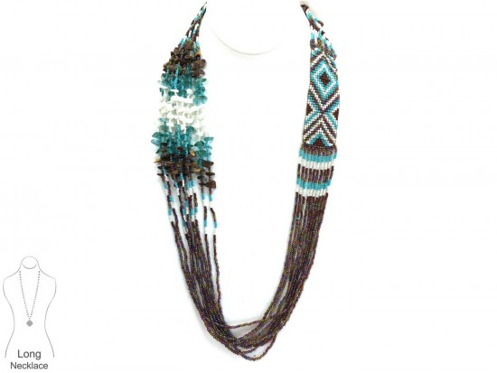 Brown Turq Woven Seed Bead Tribal Necklace Set