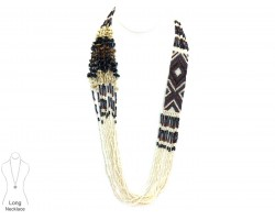 White Brown Woven Seed Bead Tribal Necklace Set