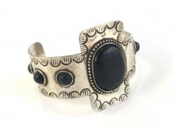 Black Oval Stone Silver Tribal Cuff Bracelet