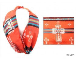 Coral Aztec Theme Cross Infinity Scarf