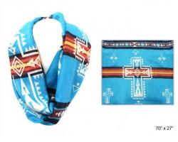 Turquoise Aztec Theme Cross Infinity Scarf