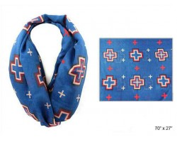 Blue Square Cross Infinity Scarf