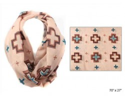 Brown Square Cross Infinity Scarf