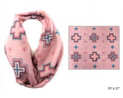 Pink Square Cross Infinity Scarf