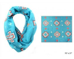 Turquoise Square Cross Infinity Scarf
