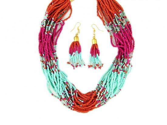 Fuchsia Turquoise Seed Bead Multi Strand Necklace Set