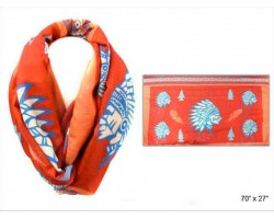 Coral Multi Indian Chief Head Infinity Scarf