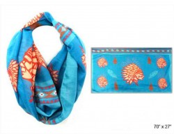 Turquoise Multi Indian Chief Head Infinity Scarf