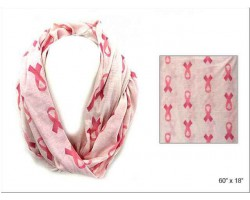 Ivory Pink Ribbon Theme Infinity Scarf