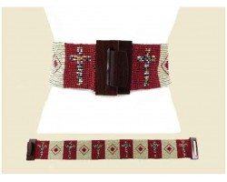 Red Ivory Cross Seed Bead Belt