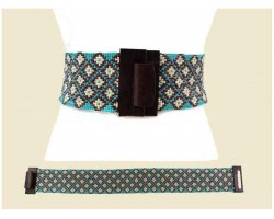 Turquoise Ivory Diamond Pattern Seed Bead Belt