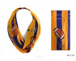 Purple Yellow Football Theme Infinity Scarf