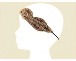 Pink Gold Seed Bead Crystal Leaf Headband