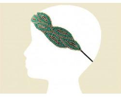 Turquoise Gold Seed Bead Crystal Leaf Headband