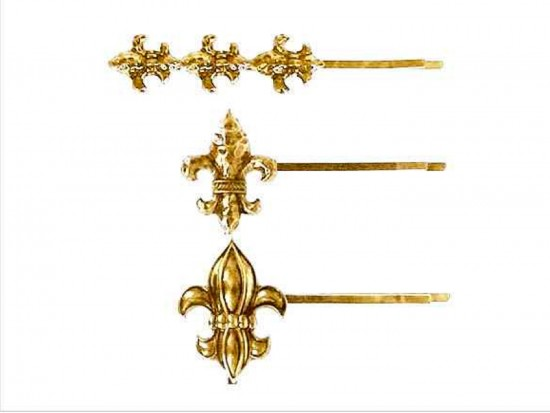 Gold Fleur De Lis Hair Pin Set