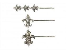 Silver Fleur De Lis Hair Pin Set