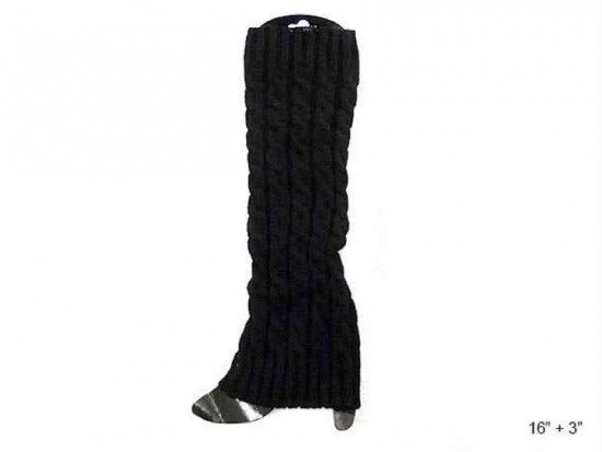 Black Cable Pattern Leg Warmer Boot Topper