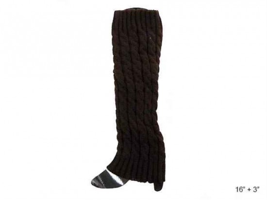 Dark Brown Cable Pattern Leg Warmer Boot Topper