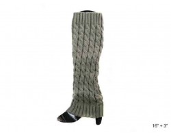 Gray Cable Pattern Leg Warmer Boot Topper