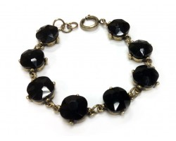 Jet Crystal Cabochon Gold Link Bracelet