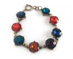 Multi Crystal Cabochon Gold Link Bracelet