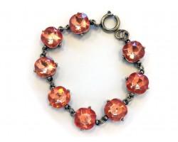 Peach Crystal Cabochon Gold Link Bracelet