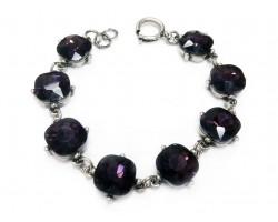 Amethyst Crystal Cabochon Silver Link Bracelet