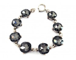 Black Diamond Crystal Cabochon Silver Link Bracelet