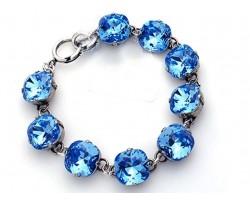 Capri Blue Crystal Cabochon Silver Link Bracelet