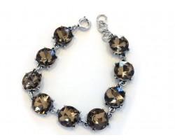 Light Colorado Topaz Crystal Cabochon Silver Link Bracelet