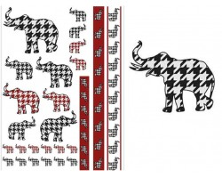 Houndstooth Elephant Temp Tattoos