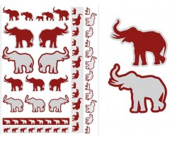 Red Gray Elephant Temp Tattoos