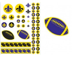 Purple Yellow Fleur De Lis Football Temp Tattoos