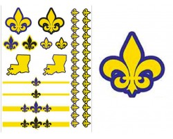 Purple Yellow Louisiana State Map Temp Tattoos