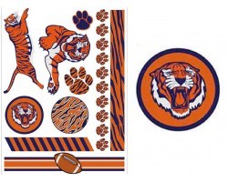 Navy Orange Auburn Theme Temp Tattoos