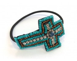 Turquoise Seed Bead Crystal Cross Stretch Bracelet