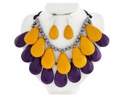 Purple Yellow 2-Line Teardrop Petals Necklace Set