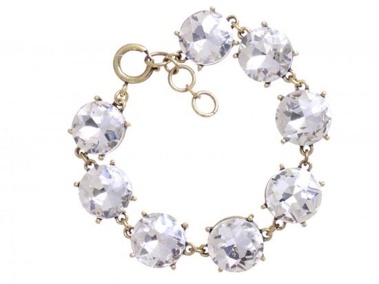 Clear Crystal 16mm Cabochon Gold Link Bracelet