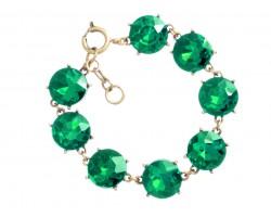 Green Crystal 16mm Cabochon Gold Link Bracelet