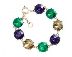 Mardi Gras Crystal 16mm Cabochon Gold Link Bracelet