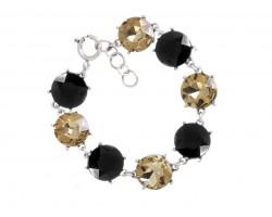 Black Gold Crystal 16mm Cabachon Slver Link Bracelet